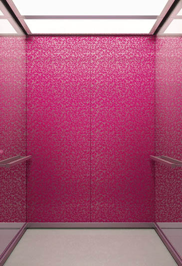 KONE S MiniSpace ™ elevator with Industrial Chic style pink interior