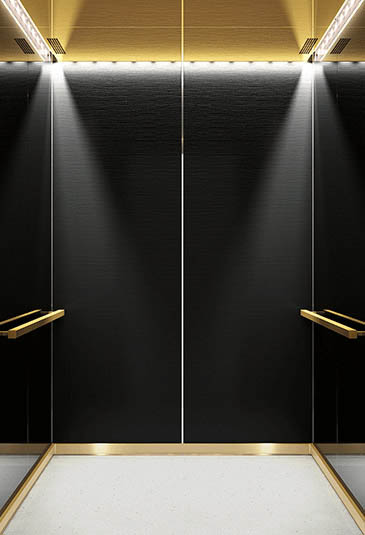 KONE MiniSpace ™ elevator with Cool Vintage style black and gold interior